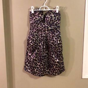 Purple Cheetah Strapless Dress